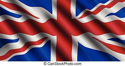 United Kingdom flag flowing background. Great Britain. Vector illustration.