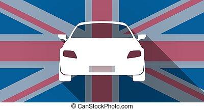 United Kingdom flag icon with a car