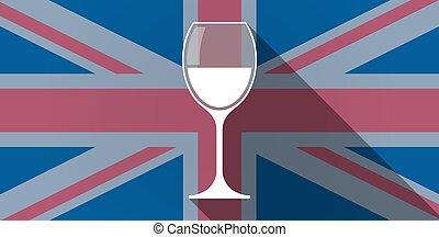 United Kingdom flag icon with a glass