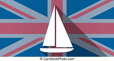 United Kingdom flag icon with a ship