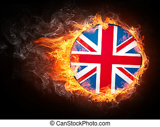 United Kingdom Flag in Fire. Computer Graphics.
