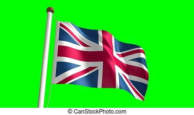 3D United Kingdom flag video (seamless & green screen)