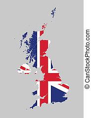 United Kingdom flag map - Vector illustration of the United...