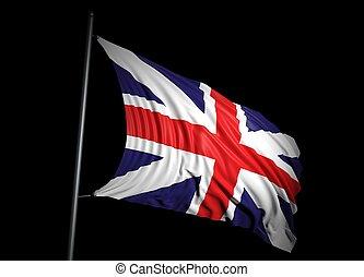 United Kingdom flag on black background