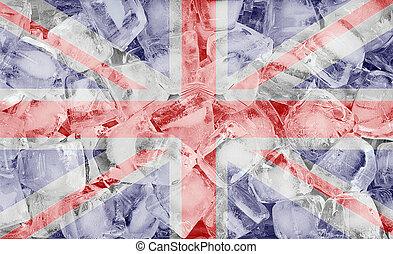 United Kingdom flag on ice cubes background