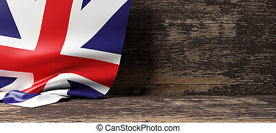 United Kingdom flag on wooden background. 3d illustration