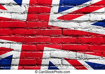 United Kingdom Flag painted on brick wall