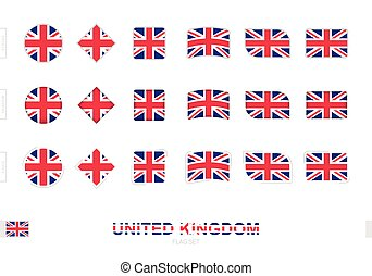 United Kingdom flag set, simple flags of United Kingdom with three different effects.