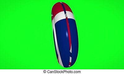 United Kingdom flag transforming into life belt on green screen