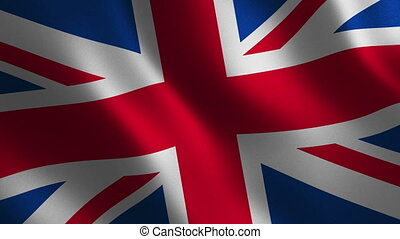 United Kingdom flag waving 3d. Abstract background. Loop...
