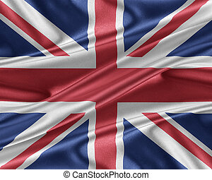 United Kingdom flag with a glossy silk texture.