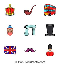 United Kingdom icons set, cartoon style