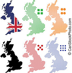 United Kingdom - Layered vector illustration pixel map and...