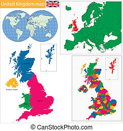 Outline united kingdom map Administrative divisions of vectors