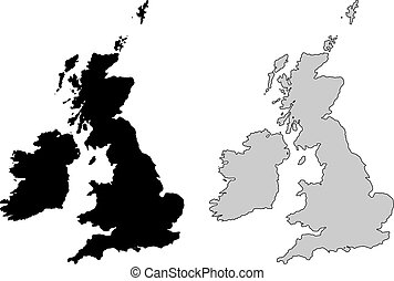 United Kingdom map. Black and white. Mercator projection.