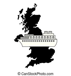 united kingdom map container ship shipping vector...