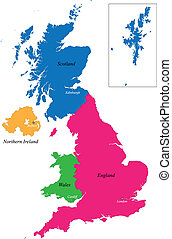United Kingdom map designed in illustration with regions colored in bright colors