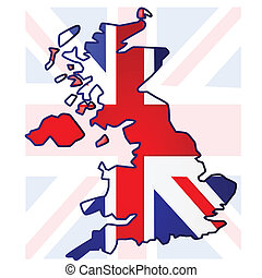 United Kingdom map - Illustration of the United Kingdom flag...