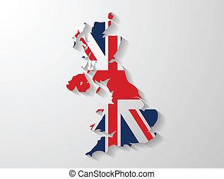 united kingdom map shadow effect
