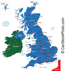 United Kingdom map - United Kingdom vector map with main...