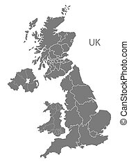 United Kingdom Map with countries grey