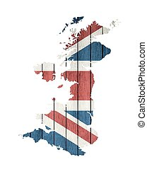 United Kingdom Map With Wooden Flag