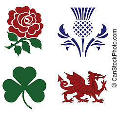 national emblems - United Kingdom national emblems isolated...