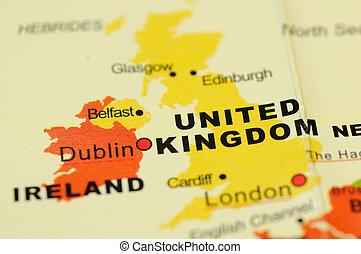 United Kingdom on map - Close up of United Kingdom  on map