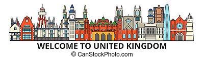 United Kingdom outline skyline, british flat thin line icons, landmarks, illustrations. United Kingdom cityscape, british travel city vector banner. Urban silhouette