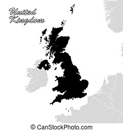 United Kingdom Political Sihouette Map. Great Britain Black and White Vector Graphic