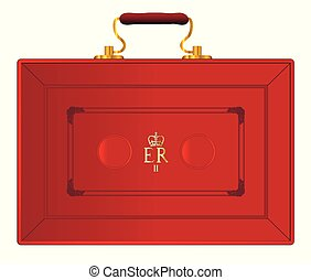 The red case as displayed by the UK Chancellor of the Exchequer during a new budget ober a white background