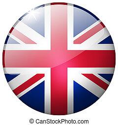 United Kingdom Round Glass Button