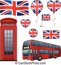United Kingdom set: flags, icons, telephone, bus and ...