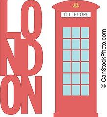 United Kingdom Telephone Box London public call vector word...