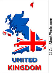 United kingdom territory with flag texture.
