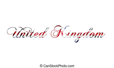 United Kingdom Text Written On White Background 3D illustration