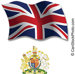 united kingdom shadowed textured wavy flag and coat of arms against white background, vector art illustration, image contains transparency transparency