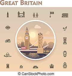 United Kingdom travel icon set