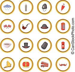 United kingdom travel icons circle