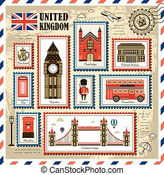 United Kingdom travel stamp collection