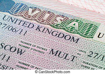 United Kingdom visa in passport - Close up United Kingdom...