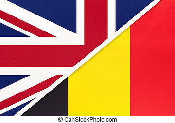 United Kingdom of Great Britain and Ireland vs Belgium national flag from textile. Relationship, partnership and economic between two european countries.