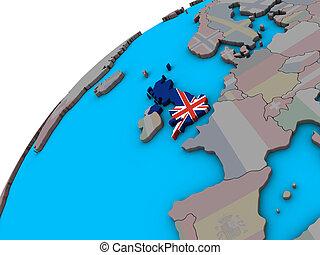 United Kingdom with flag on 3D globe