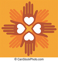 United loving hands. - United loving hands design vector.