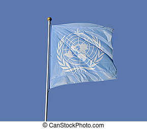 United Nation Flag - Slag of the United Nations waving in a...