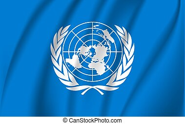 United Nations flag blowing in the wind isolated. Official patriotic abstract design. 3D rendering illustration of waving sign symbol.
