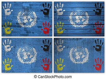 United Nations flag collage - Collage of United Nations flag...