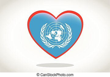 United Nations Flag in Heart Shape.
