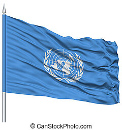 United Nations Flag on Flagpole , Flying in the Wind,...