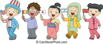 United Nations Kids - Illustration of Kids Representing...
